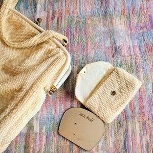 Vintage 3pc Petite-Bead purse set with mirror